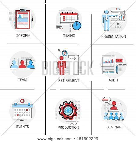 Audit Data Analysis, Human Resources Seminar Team Timing Conference Icon Set Vector Illustration
