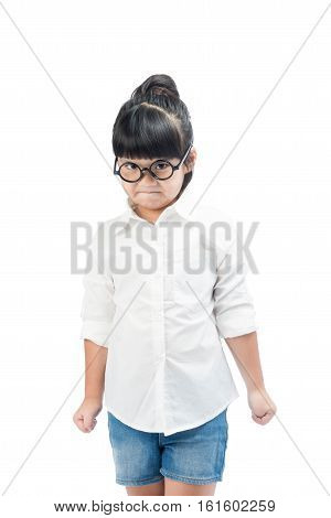 Angry little girl looking at camera ,Angry little girl in isolated on white with clipping path.