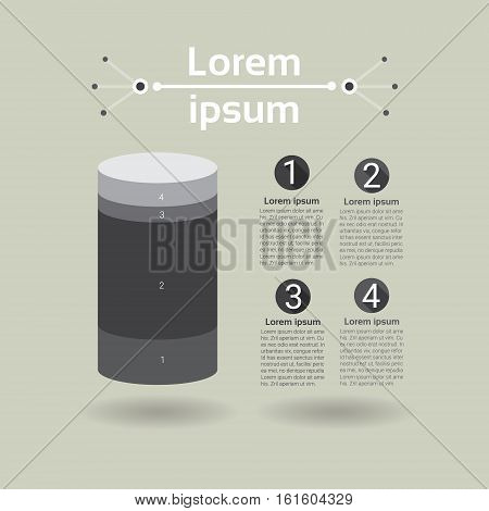 Graph Set Finance Cylinder Infographic Icon Financial Business Chart Flat Vector Illustration