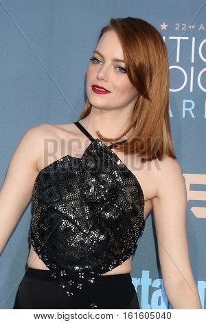 LOS ANGELES - DEC 11:  Emma Stone at the 22nd Annual Critics' Choice Awards at Barker Hanger on December 11, 2016 in Santa Monica, CA