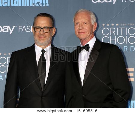 LOS ANGELES - DEC 11:  Tom Hanks, Chesley Sullenberger at the 22nd Annual Critics' Choice Awards at Barker Hanger on December 11, 2016 in Santa Monica, CA