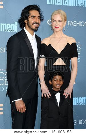 LOS ANGELES - DEC 11:  Dev Patel, Sunny Pawar, Nicole Kidman at the 22nd Annual Critics' Choice Awards at Barker Hanger on December 11, 2016 in Santa Monica, CA