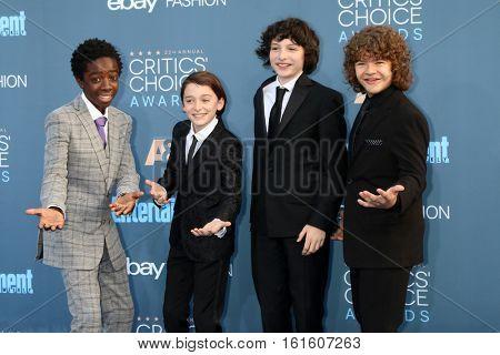 LOS ANGELES - DEC 11:  Caleb McLaughlin, Noah Schnapp, Finn Wolfhard, Gaten Matarazzo at the 22nd Annual Critics' Choice Awards at Barker Hanger on December 11, 2016 in Santa Monica, CA