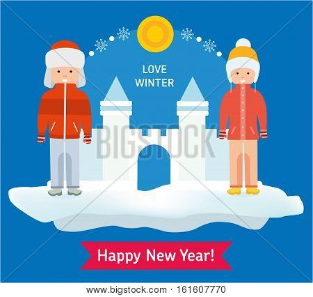 Love winter card. A boy and a girl are standing next to the snow fortress. Beneath the inscription Happy new year. Flat style illustration.