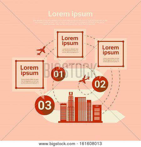 Airport Plane Transportation Analysis Infographic Copy Space Banner Flat Vector Illustration