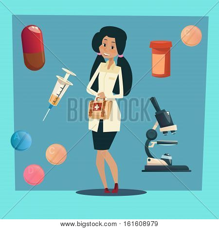 Medical Doctor African American Race Woman Practitioner Flat Vector Illustration