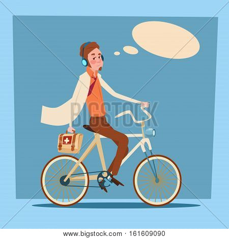 Medical Doctor Man Practitioner Ride Bicycle First Aid Flat Design Vector Illustration