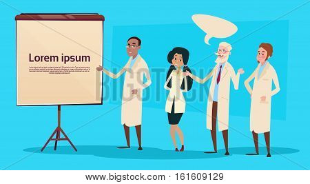 Mix Race Medical Doctors Group Team People Intern Lecture Study Flat Vector Illustration