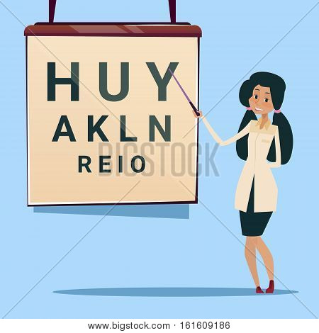 Medical Doctor African American Woman Oculist Ophthalmologist Point Examination Table Visual Acuity Hospital Flat Vector Illustration