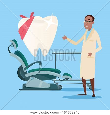 Dental Clinic Interior Dentist Workplace Hospital Medicine Flat Vector Illustration