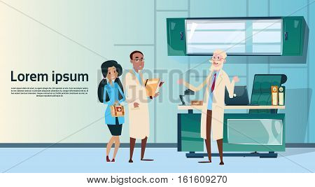 Group Medial Doctors Team Hospital Cabinet Interior Flat Vector Illustration