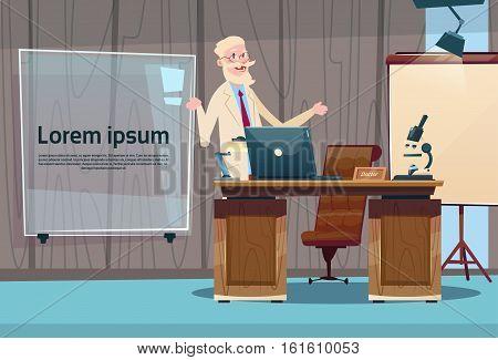 Doctor Professor Office Clinic Interior Workplace Hospital Medicine Care Flat Vector Illustration