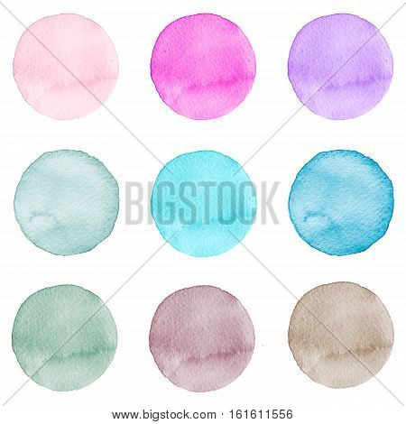 Set of watercolor hand painted circles pastel colors. Watercolor Illustration for artistic design. Round stains, blobs, spots isolated on white.