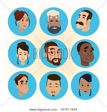 Mix Race People Faces Icon Set Diversity Concept Flat Vector Illustration