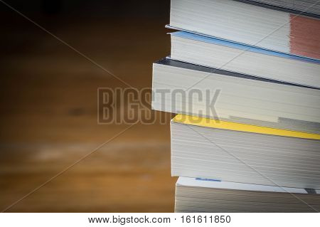 Close Up  Book Stack On Wood Table,selective Focus