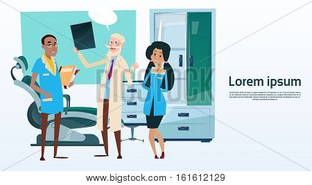 Group Medial Doctors Team Hospital Cabinet Interior Flat Vector Illustration