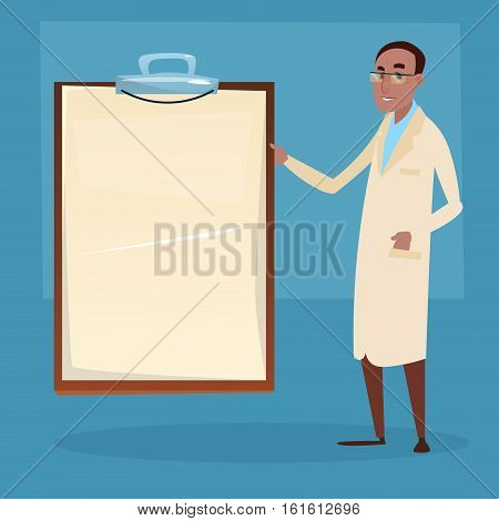 Medical Doctor African American Man Practitioner Point To Empty Board Flat Vector Illustration
