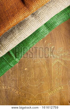State symbols and the flag of the Ivory Coast.