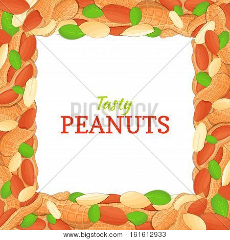 Square frame composed of delicious peanut nut. Vector card illustration. Nuts frame, peanuts fruit in the shell, whole, shelled, leaves appetizing looking for packaging design of healthy food, menu