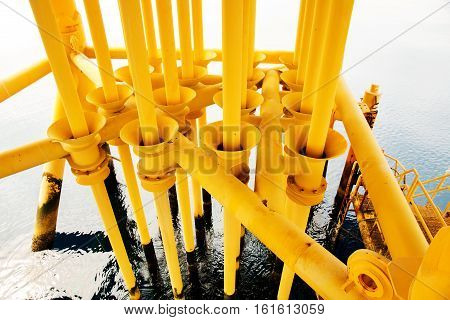 Offshore construction platform for production oil and gas Oil and gas industry and hard workProduction platform and operation process by manual and auto function oil and rig industry and operation.
