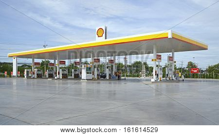 Nakhon Pathom June 8 2016 Shell gas stations in the area. Nakhon Pathom Thailand Royal Dutch Shell is the largest oil company in the world.