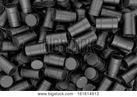 3d rendering of heap of black barrels. Oil industry. Storage equipment. Dahgerous wastes.
