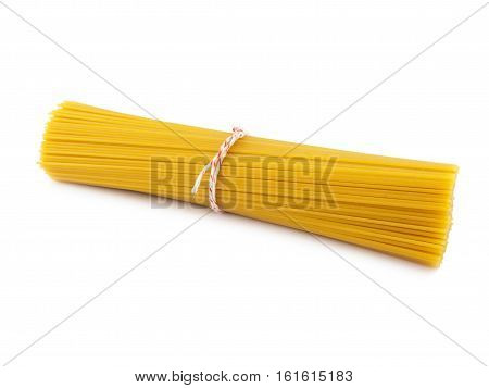 Bunch spaghetti glod color of isolated on white background