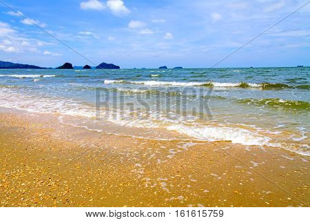 Wave and storm on seaside in Chumphon province Thailand.