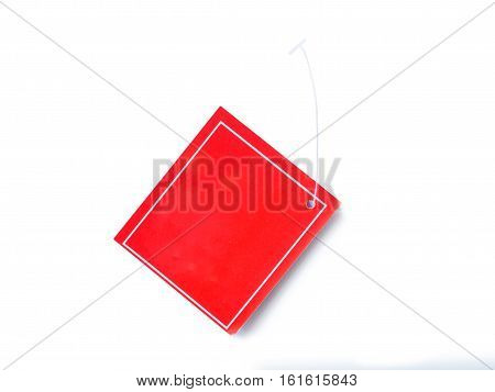 Blank red tag price frame of isolated on white background