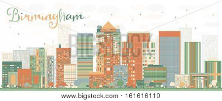 Abstract Birmingham Skyline with Color Buildings. Business Travel and Tourism Concept with Modern Architecture. Image for Presentation Banner Placard and Web Site