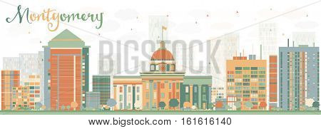 Abstract Montgomery Skyline with Color Buildings. Business Travel and Tourism Concept with Modern Architecture. Image for Presentation Banner Placard and Web Site.