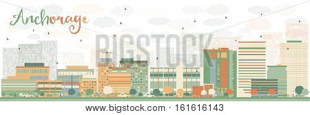 Abstract Anchorage Skyline with Color Buildings. Business Travel and Tourism Concept with Modern Architecture. Image for Presentation Banner Placard and Web Site.