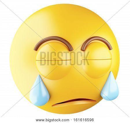 3D Illustration. Sad emoji crying. Emoji symbol. Isolated white background.
