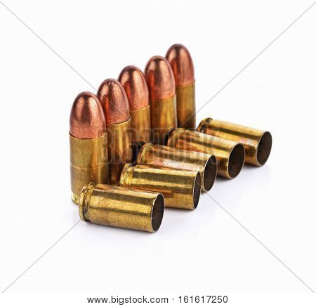 Bullet bullet casings isolated on white background