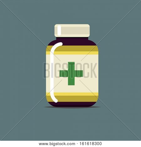 Flat medicine bottle icon with green cross isolated on gray. vector illustration for medical design and art