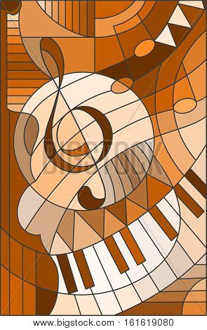 Abstract image of a treble clef in stained glass style brown tone