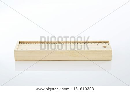 Wooden pencil box Wooden box on white background. stack imag