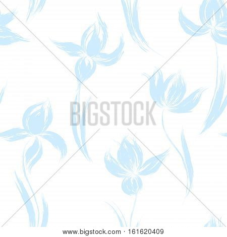 Blue oil painted iris silhouette on white background. Vector illustration of iris. Floral hand drawn design elements.
