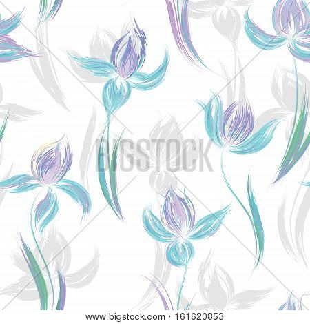 Floral seamless pattern of irises. Irises painted imitation of oil paint. Creative execution of floral ornament. Blue lilac flowers on a white background.
