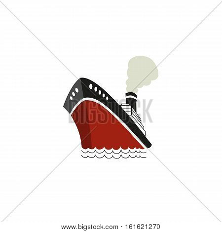 Nautical symbol concept. Ocean liner icon. Freehand drawn cartoon retro style. Design idea cruise ship tour emblem. Vector sea vessel journey advertisement label background. Marine sail logo template