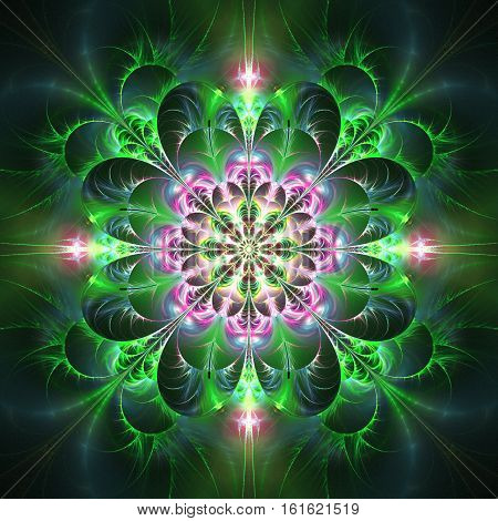 Exotic Flower In Green And Pink Colors. Abstract Mandala On Black Background. Fantasy Fractal Art. 3