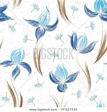 Floral seamless pattern of irises and dandelion seeds. Irises painted imitation of oil paint. Creative execution of floral ornament. Blue flowers on a white background.