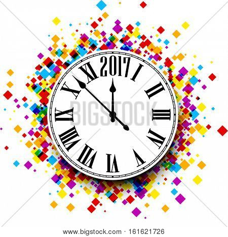 2017 New Year round clock with color rhombs. Vector paper illustration.