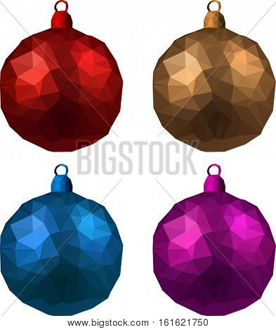 Colorful faceted isolated Christmas balls set. Vector illustration.
