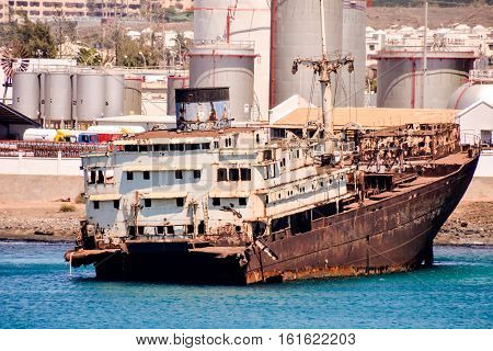 Ship Wreck In The Lanzarote Island