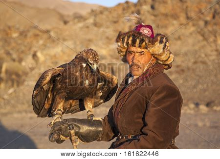 Bayan Ulgii Mongolia October 2nd 2015: Old eagle hunter with his Altai Golden Eagle