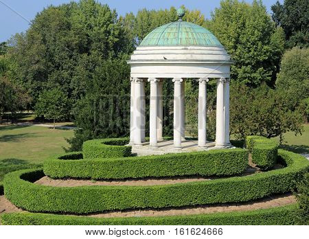 Ancient temple with the domeon the island of big public garden