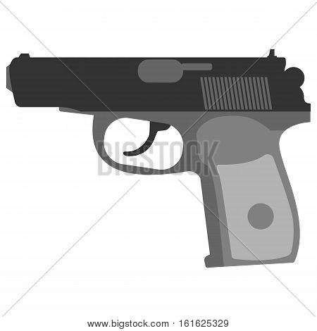 Pistol handgun security and military russian weapon. Metal pistol east gun. Criminal and police firearm vector illustration.