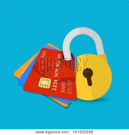 Secure payment. Set of secure credit cards protected by encryption padlock. flat illustration concept for web banners, web and mobile app, web sites, infographics