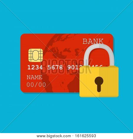 Secure payment. secure credit card protected by encryption padlock. flat illustration concept for web banners, web and mobile app, web sites, infographics